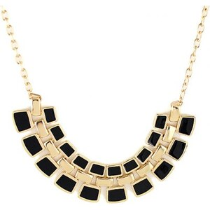 SheInside Black Geometric Splice Gold Chain Necklace