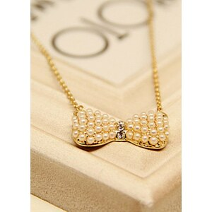 "SheInside necklaceDS0145,""Gold Bow Pearls Necklace"