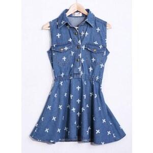 SheInside Dark Blue Sleeveless Cross Print Denim Dress