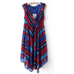 SheInside Blue Red Striped Sleeveless Pleated Chiffon Dress