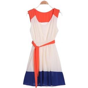 SheInside Red Apricot Blue Sleeveless Belt Pleated Dress