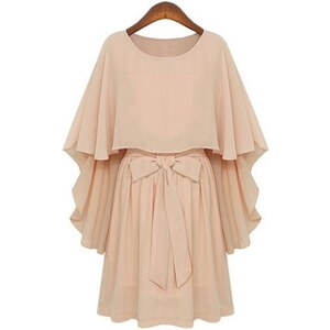 SheInside Nude Round Neck Bow Tie Waist Capes Top Chiffon Dress
