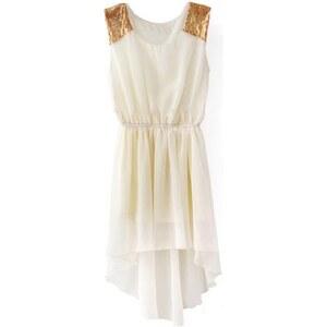 SheInside Beige Sleeveless Sequined Shoulder High Low Dress