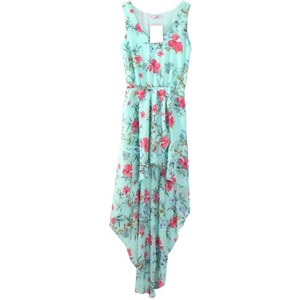 SheInside Light Blue Bohemia Floral Sleeveless Chiffon Asymmetrical Dress