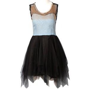 SheInside Blue Denim Contrast Black Lace Sleeveless Rivet Dress