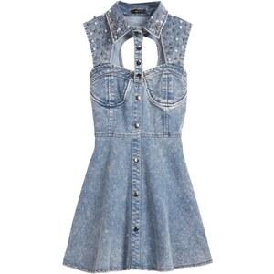 SheInside Blue Sleeveless Sequined Hollow Backless Denim Dress