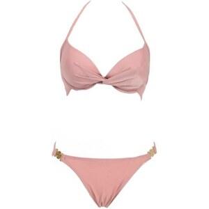 SheInside Pink Push Up Twist Top wih Toggle Bottom Bikini