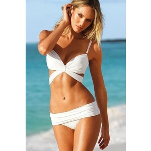SheInside White Push-Up Cut Out Knot Top & Foldover Bottom