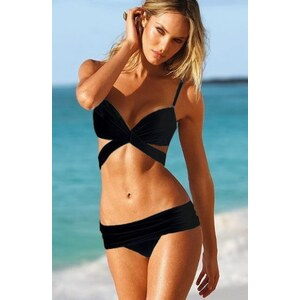 SheInside Black Push-Up Cut Out Knot Top & Foldover Bottom