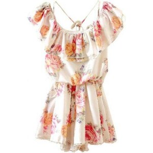 SheInside White Off the Shoulder Ruffles Floral Chiffon Dress