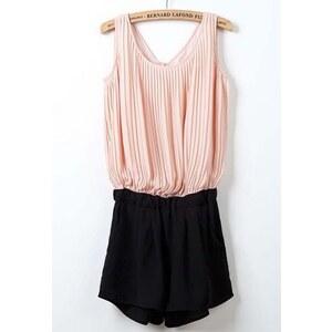 SheInside Pink Black Sleeveless Pleated Chiffon Jumpsuits