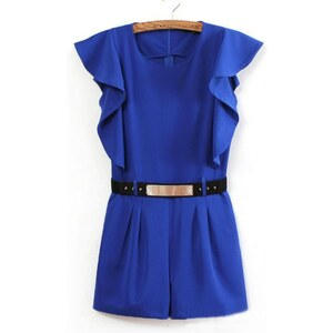 SheInside Blue Sleeveless Ruffles Rivet Belt Jumpsuit
