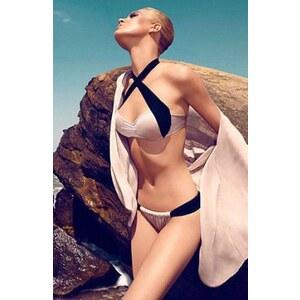 SheInside Light Pink Contrast Navy Criss Cross Halter Bikini