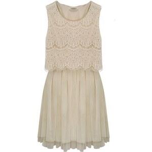 SheInside Apricot Sleeveless Crochet Lace Gauze Hem Dress