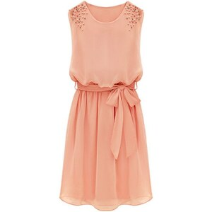 SheInside Pink Sleeveless Bead Belt Chiffon Sundress