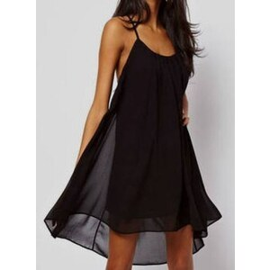 SheInside Black Spaghetti Strap Backless Chiffon Dress