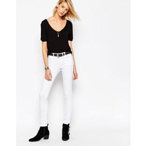 ASOS - Lisbon - Mittelhoch geschnittene Skinny Jeans in Weiß - Weiß