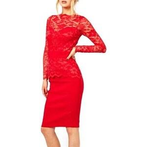 Chic Dresses Robe avec dentelle - rouge