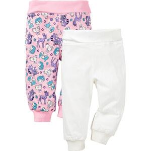 bpc bonprix collection Lot de 2 pantalons bébé en coton bio, T. 56/62-92/98 blanc enfant - bonprix