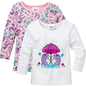 bpc bonprix collection Lot de 2 T-shirts bébé à manches longues en coton bio, T. 68/74-104/110 blanc enfant - bonprix