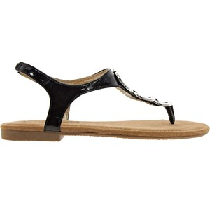 Timeless Black And Silver Thong Flat Sandal