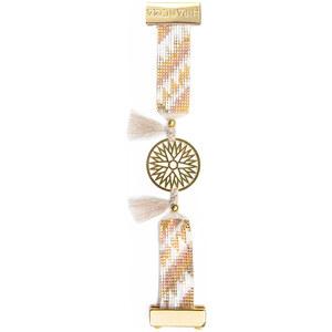 Bracelet Doré En Perles, Estampe Et Pompons - Hipanema Ambre