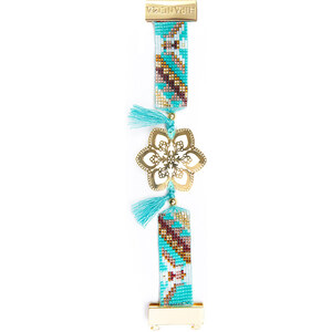 Bracelet Bleu, Perles Et Pompons, Estampe Dorée - Hipanema Agathe