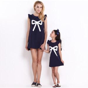 Lesara Kleid mit Schleifen-Print und Rüschen-Ärmeln - M