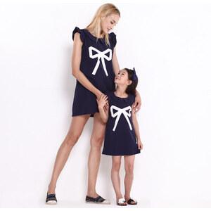 Lesara Kinder-Kleid mit Schleifen-Print und Rüschen-Ärmeln - 146