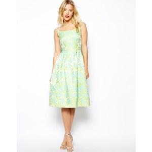 ASOS Tiffany Midi Dress In Floral Jacqaurd