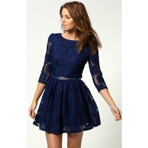 SheInside Dark Blue Zipper V-back Sunflower Lace Skater Dress