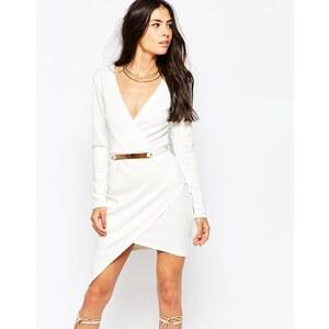 Club L - Essentials - Asymmetrisches Kleid aus Neopren mit goldverziertem Gürtel - Cremeweiß