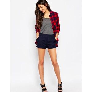 Glamorous - Tweed-Shorts mit hohem Bund - Tweed in Marineblau