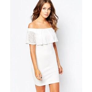 Club L Essentials - Robe moulante avec détails style Bardot en dentelle - Blanc