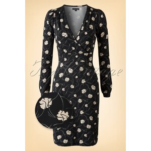 King Louie 50s Lois Art Noveau Tulip Dress in Charcoal