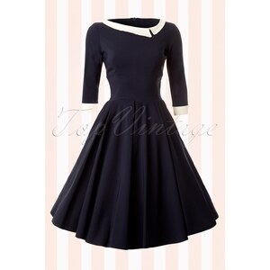 The Pretty Dress Company Navy Mistress Mad Men Vintage Swing dress
