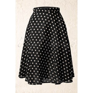The Seamstress of Bloomsbury 40s Lola Circle Skirt in Black and White