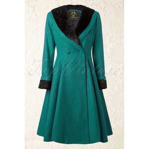 Bunny 50s Vivien Swing Coat in Teal