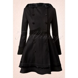 Bunny Vintage Mikaela Hooded Winter Swing Coat in Black
