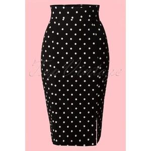Steady Clothing 50s Diva Polkadot Pencil Skirt in Black