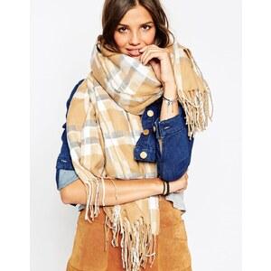 ASOS - Oversized-Schal mit geometrischem Print und Fransen - Kamel