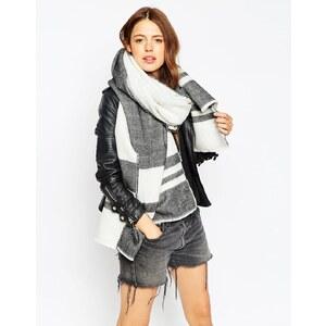 ASOS - Oversize-Schal mit Streifen - Gebrochenes Weiß