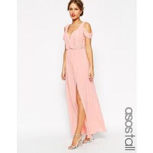 ASOS TALL - Drapiertes Maxi-Hochzeitskleid mit Schulterausschnitt - Nude