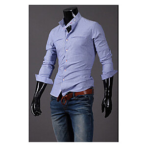 LightInTheBox TL Casual Long Sleeve Stripe Shirt(Blue) Z8921