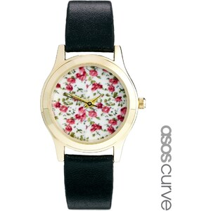 ASOS CURVE Floral Face Strap Watch