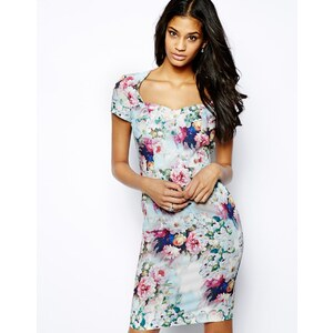 Paper Dolls Floral Pencil Dress with Sweetheart Neckline