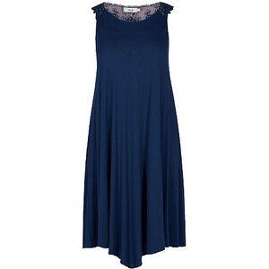 Zizzi, Langes Kleid mit Stickereien, dunkelblau, Größe XL 52-54