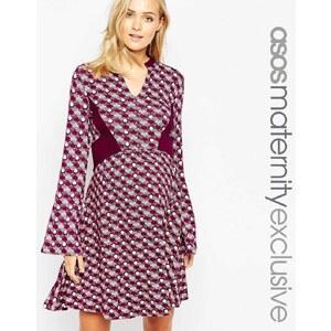 ASOS Maternity - Kleid mit Print und Einsätzen - Mehrfarbig