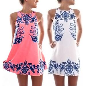 Lesara Kleid mit blauen Ornamenten - Weiß - XS