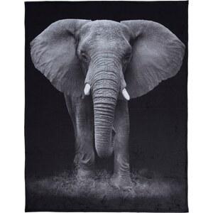 """Home Linen Plaid imprimé """"velours"""" Eléphant 150x200 cm en 100% polyester"""